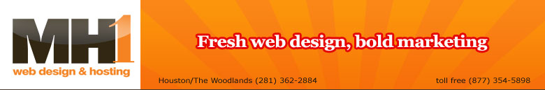 MH1 Web Design offices are located at 21 Waterway Avenue, Suite 300 in The Woodlands, Texas